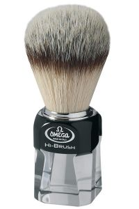 Omega scheerkwast synthetisch haar Hi-Brush plexi zwart