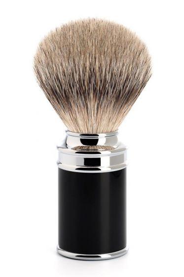 Muhle scheerkwast dashaar zilverspits Traditional zwart/chroom