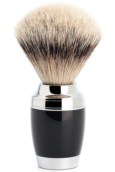 Muhle Stylo scheerkwast zilverspits dashaar zwart chroom