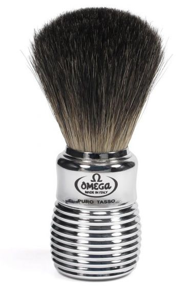Omega scheerkwast dashaar zilver ribbel