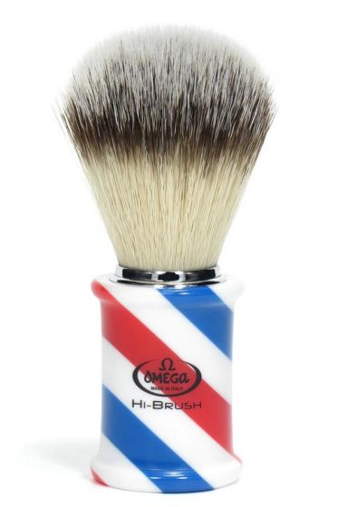 Omega scheerkwast synthetisch haar Hi-Brush Barber Pole